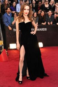 Strapless Sexy Slits Angelina Jolie Black Dress On 2012 Oscar Awards