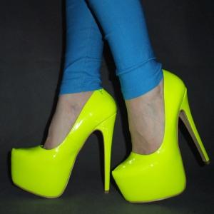Fashion-colorant-match-sexy-16cm-neon-high-heeled-shoes-Fluorescent-yellow-single-shoe-nightclub-platform-pumps
